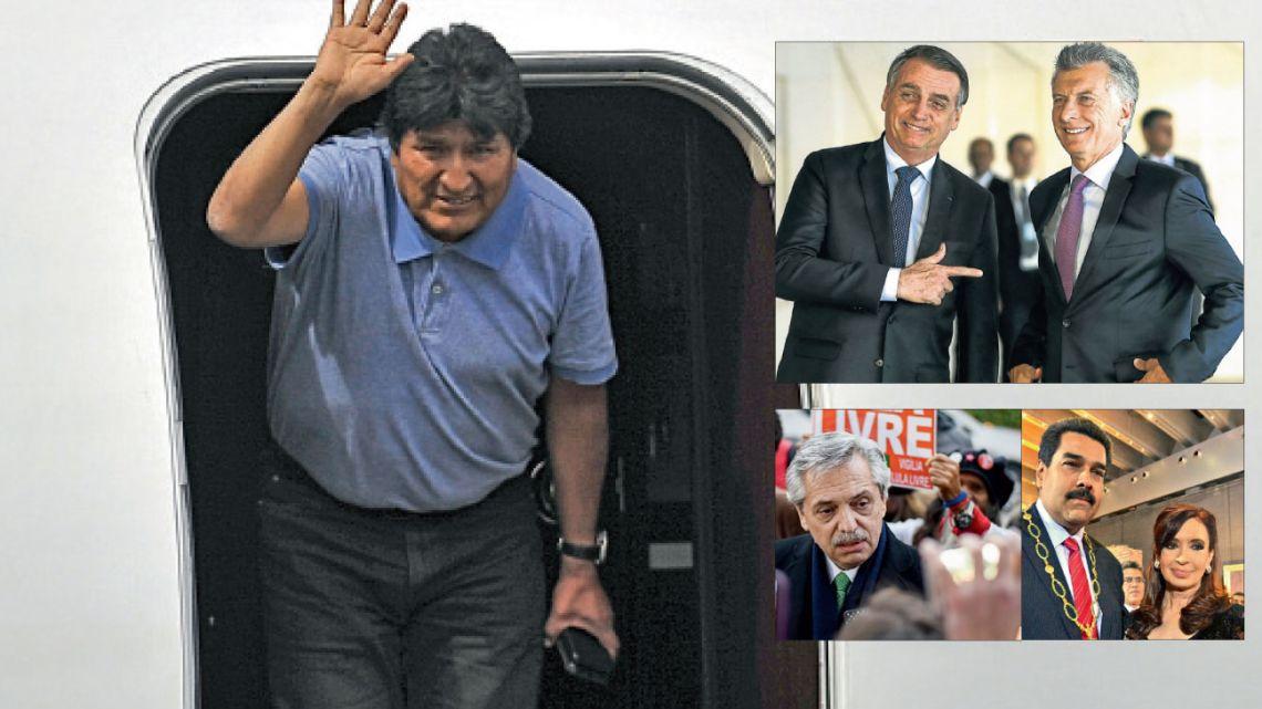 Evo Morales llega a México tras su destitución. Días antes, Fernández celebraba la libertad de Lula. Macri y Bolsonaro, aliados. Cristina Kirchner y su vínculo con el venezolano Maduro. Dos mundos en pugna. | Foto:AFP y CEDOC