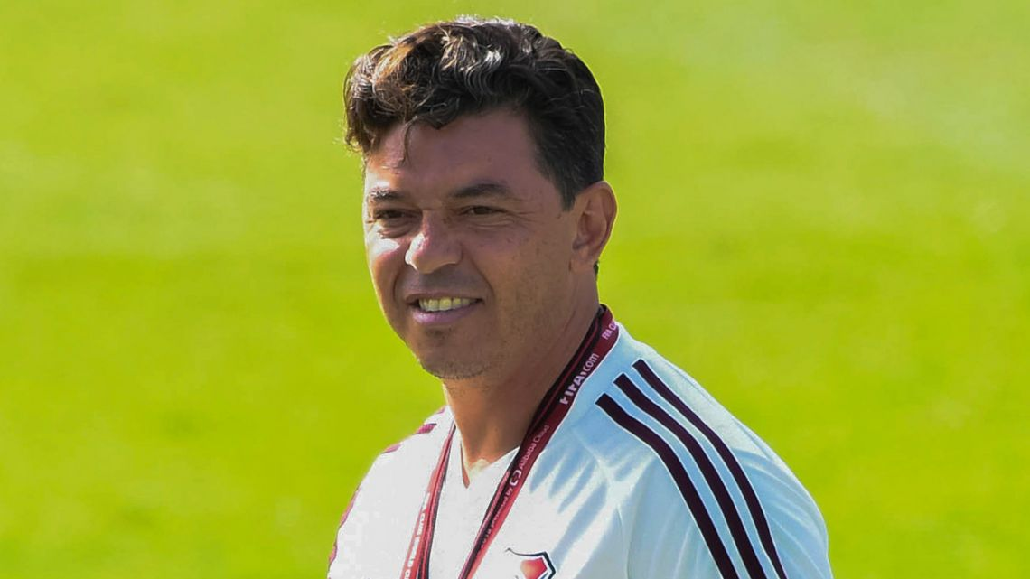 River Plate coach Marcelo Gallardo attends a training session in Lima, ahead of the Copa Libertadores final against Brazil's Flamengo.