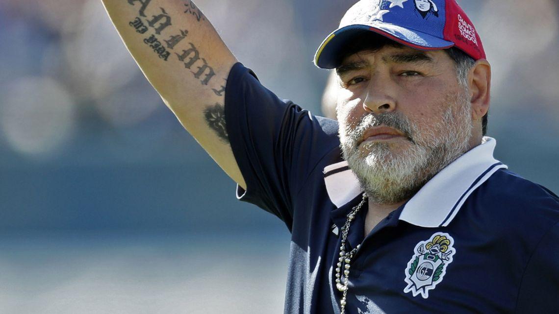 Gimnasia y Esgrima La Plata coach, Diego Armando Maradona.