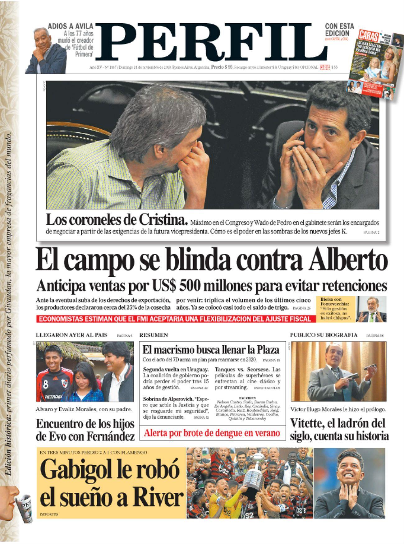 La tapa del Diario PERFIL del domingo 24 de noviembre de 2019.