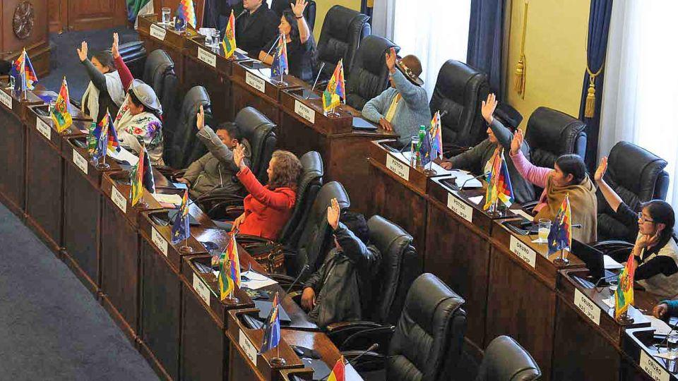 Voto. Los senadores votan el proyecto, que fue consensuado entre el gobierno y el partido de Evo.