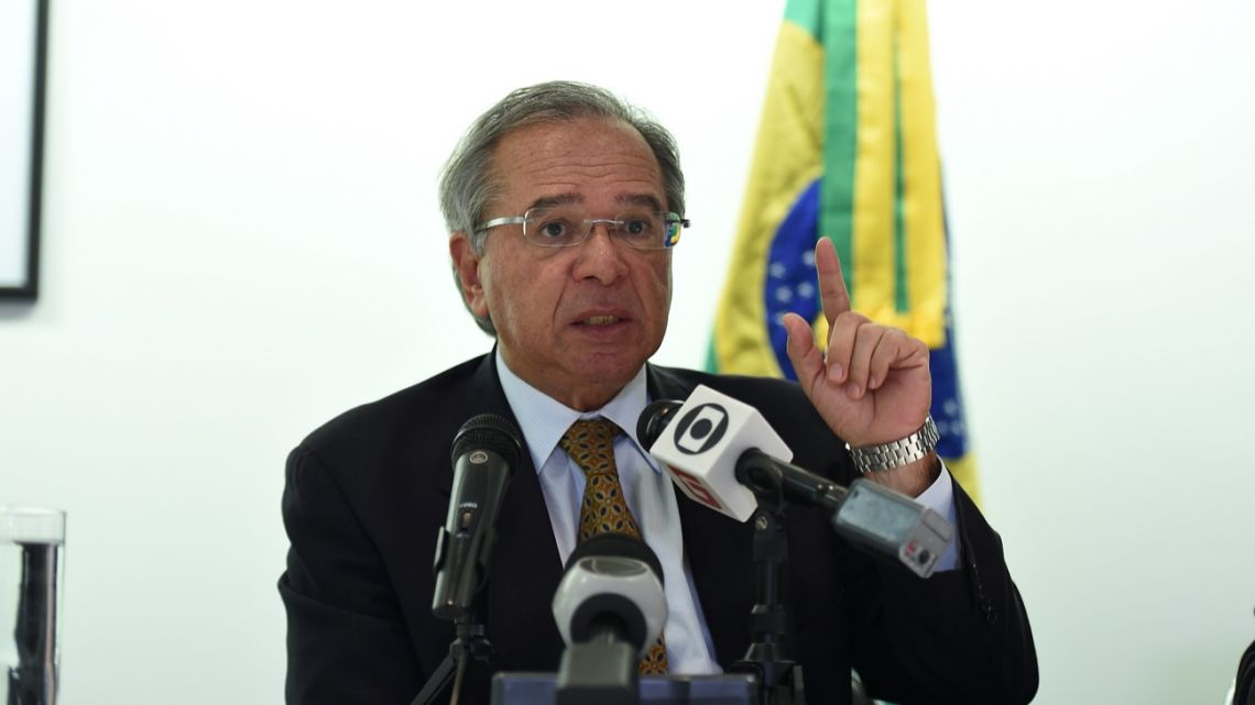 Brazil's Economy Minister, Paulo Guedes, speaks during a press conference at the Embassy of Brazil in Washington, D.C.