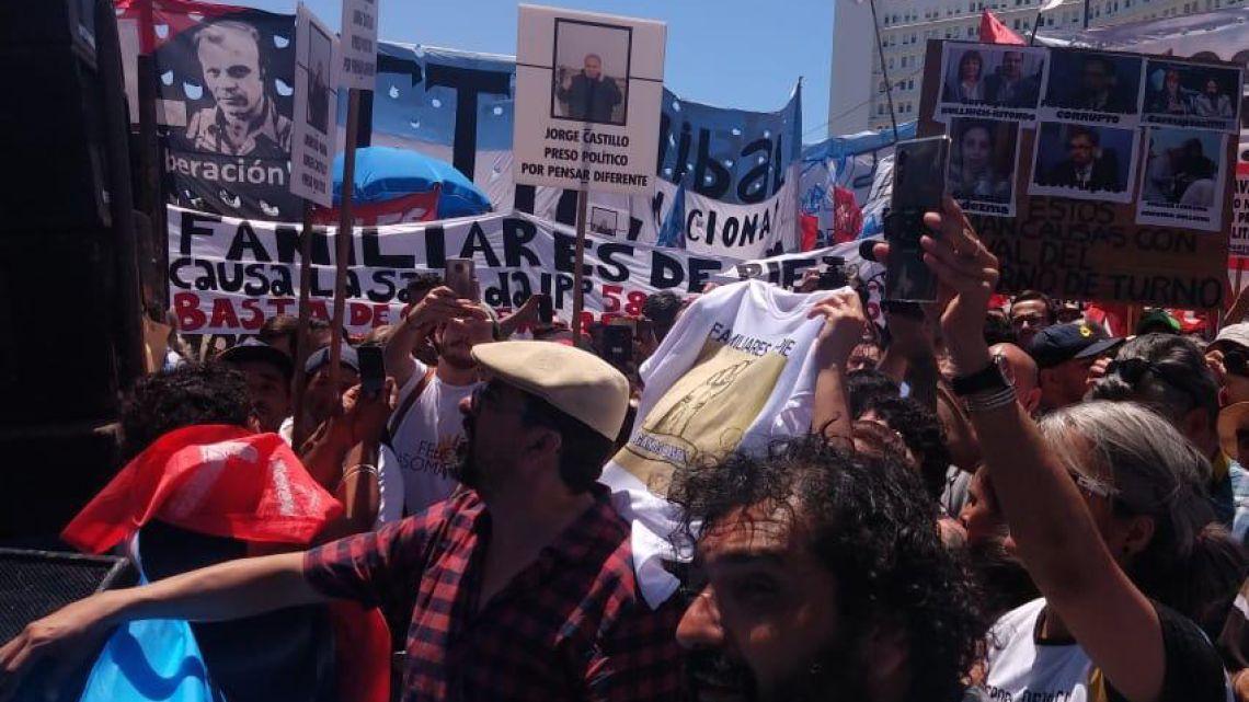 Jorge Castillo en la marcha por los presos políticos   Foto:Cedoc