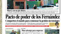 La tapa del Diario Perfil del sábado 30 de noviembre de 2019.