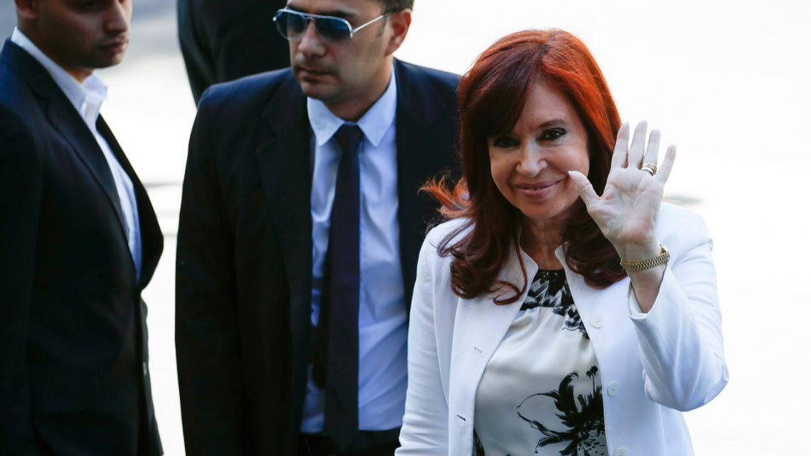 Cristina Fernández de Kirchner arrives at the Comodoro Py federal courthouse in Buenos Aires, Monday, December 2, 2019.