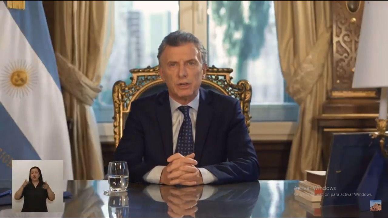 Mauricio Macri en cadena nacional.