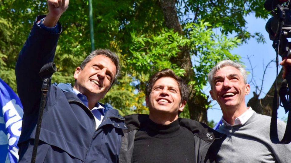 Axel Kicillof y Sergio Massa acompañaron a Mario Meoni en la campaña a intendente de Junín.