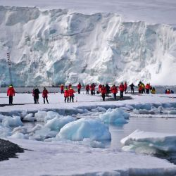 Tourists visit Yankee Harbour in the South Shetland Islands, Antarctica
