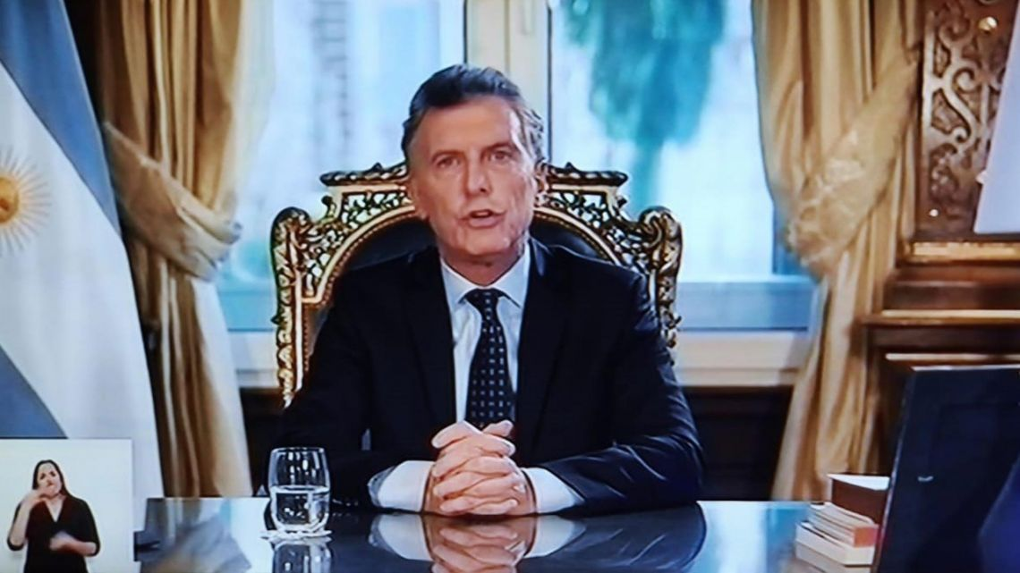 Mauricio Macri gives his final national televised address from the Casa Rosada