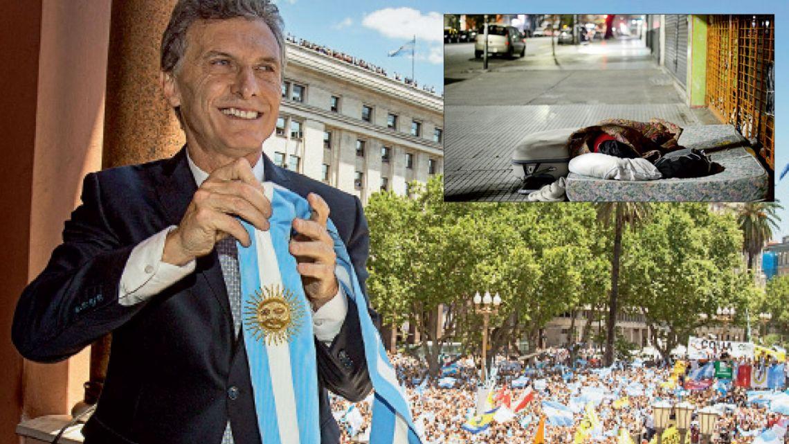 Cambiamos. Mauricio Macri, el día de su asunción. Pidió ser juzgado por la pobreza, que subió.   Foto:Cedoc