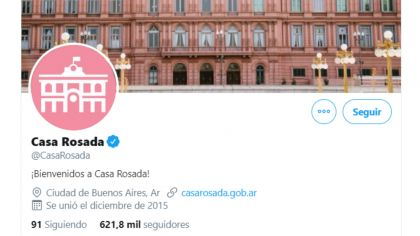 cuenta de twitter casa rosada