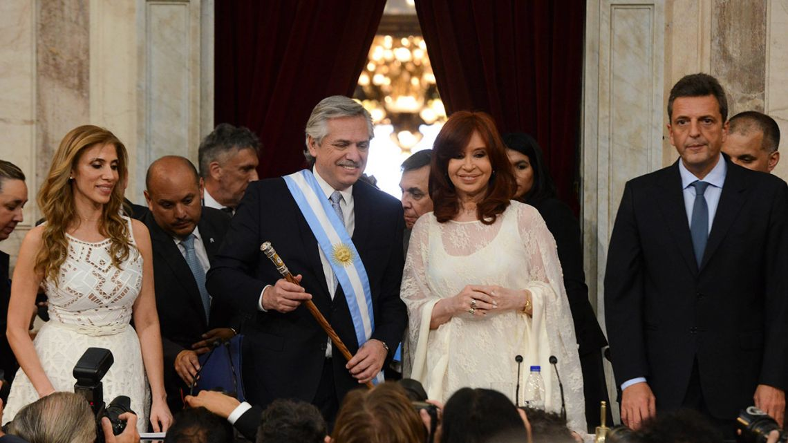 President Alberto Fernández and Vice-President Cristina Fernández de Kirchner, pictured in Congress after being sworn-in.