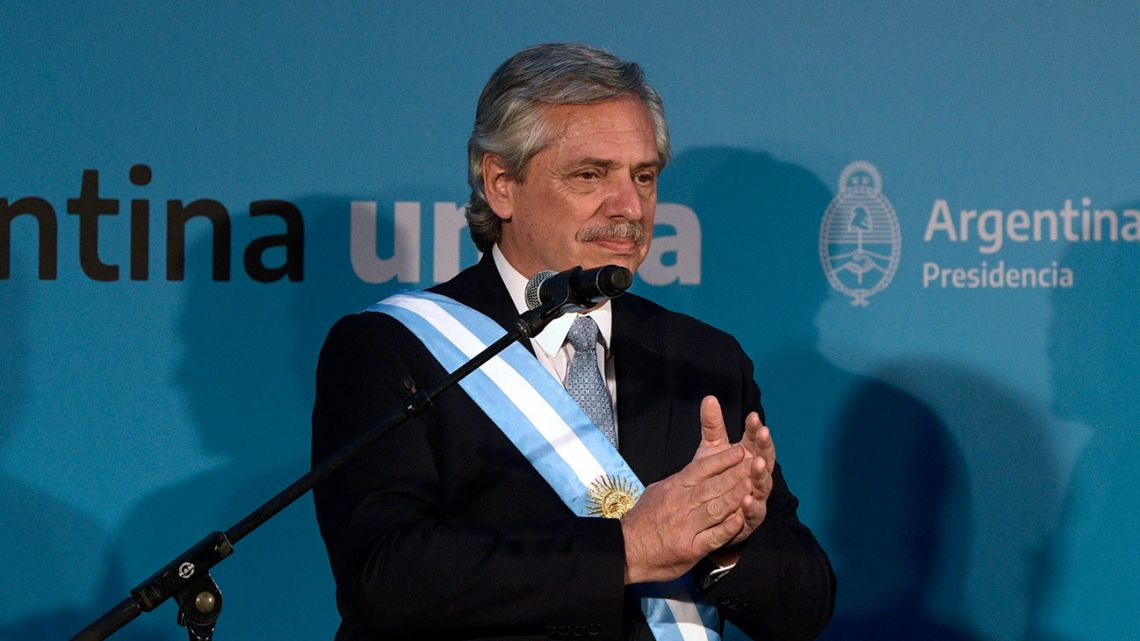 President Alberto Fernández swears in his Cabinet after his inauguration on Tuesday.