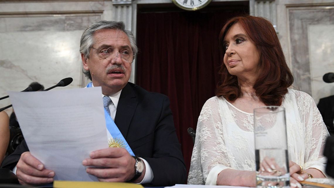 New president Alberto Fernández delivers a speech next to his vice-president Cristina Fernández de Kirchner, during the inauguration ceremony at the Congress in Buenos Aires.