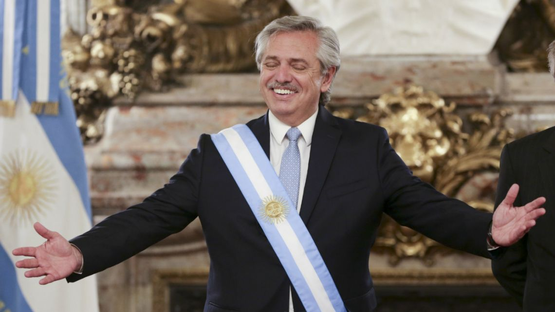 Alberto Fernández after receiving the presidential sash on inauguration day