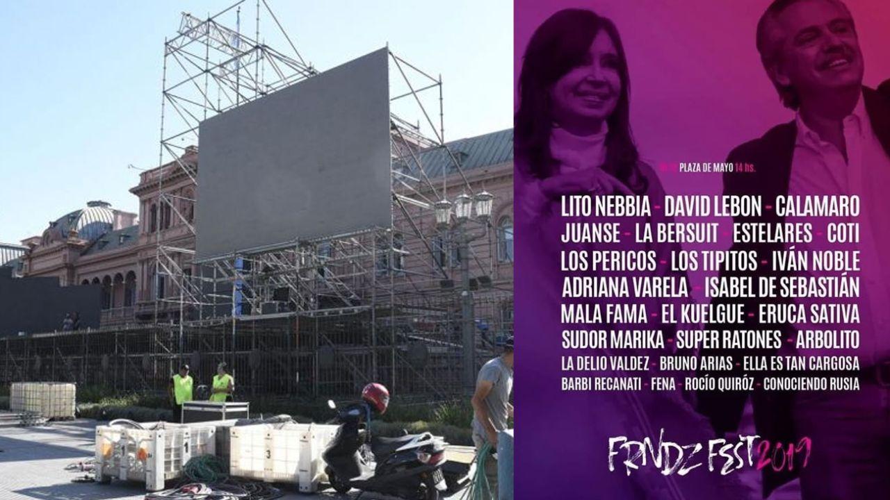 Escenario montado en Plaza de Mayo  y la grilla de la jornada.  | Foto:cedoc