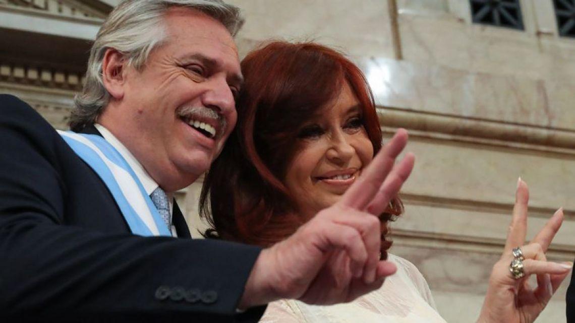 Alberto Fernández and Cristina Fernández de Kirchner in Congress after Fernádez's first speech as President.
