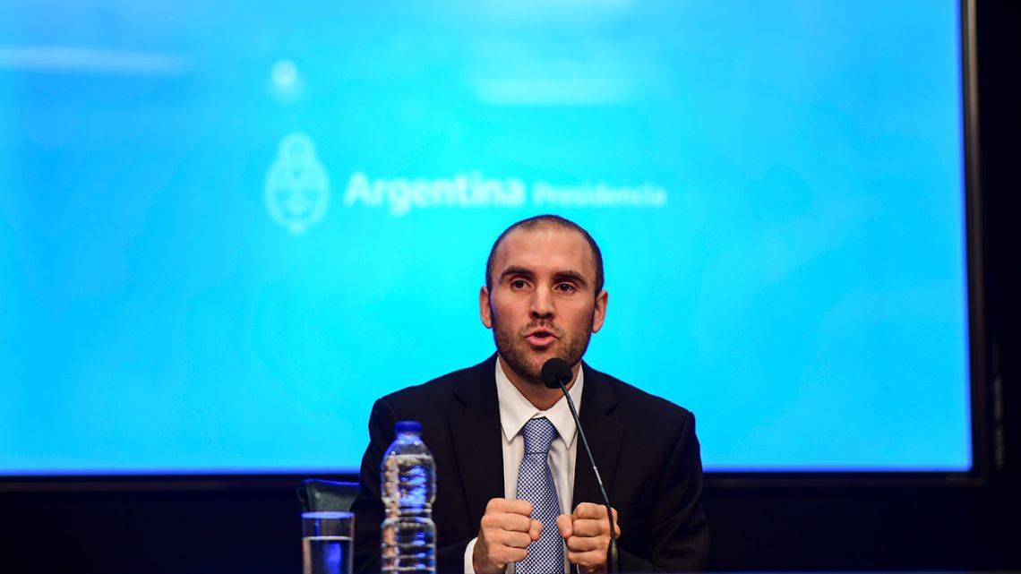 New Economy Minister Martín Guzmán speaks during a press conference in Buenos Aires on December 11, 2019.
