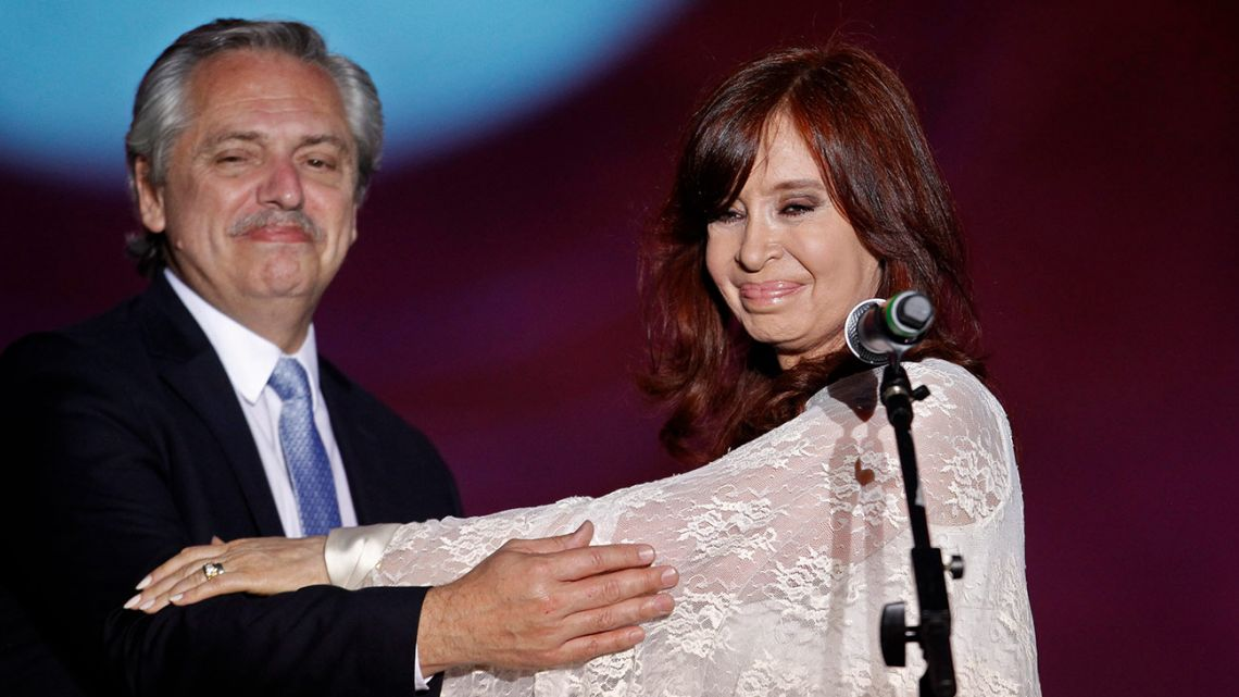President Alberto Fernández and Vice-President Cristina Fernández de Kirchner address the crowd from the Plaza de Mayo square, during their inauguration, in Buenos Aires, on December 10, 2019.