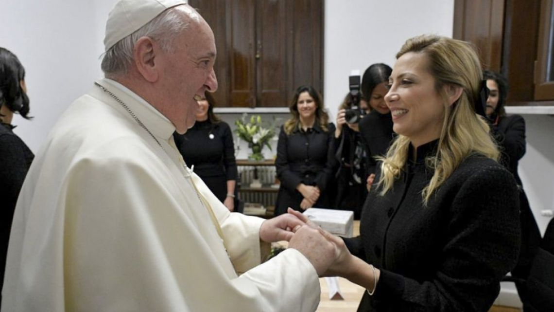 Argentina's first lady and Pope Francis
