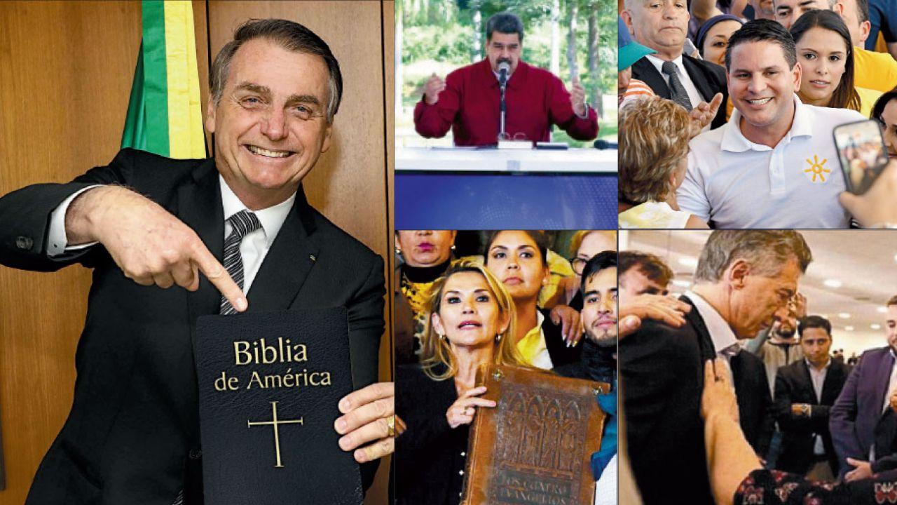 bendecidos. Maduro decretó el día del pastor evangélico. Bolsonaro y Añez en Bolivia con la Biblia. En Costa Rica, el reverendo Fabricio Alvarado logró imponerse en la primera vuelta. Macri con pastores durante la campaña electoral. | Foto:Afp y DPa