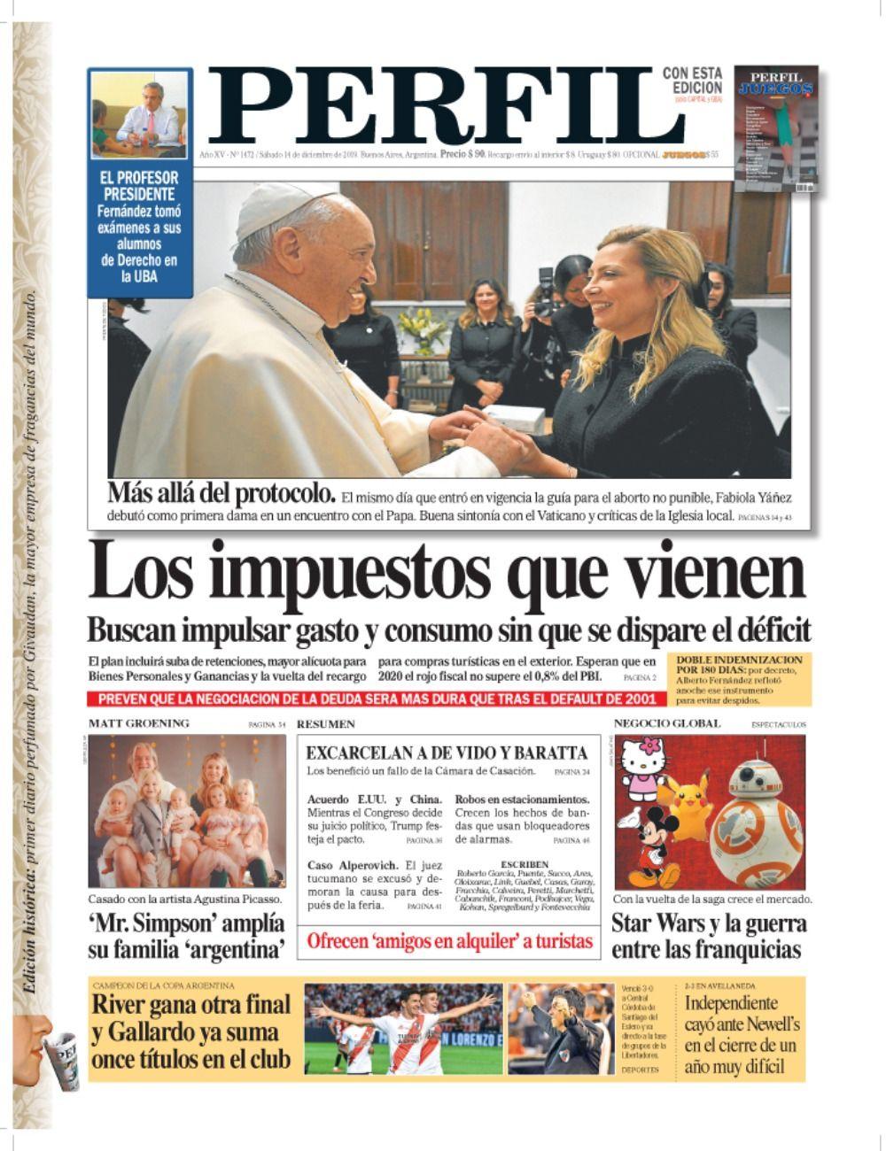 La tapa de diario PERFIL del sábado 14 de diciembre.