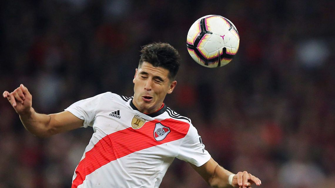 Exequiel Palacios, playing for River Plate in 2019.