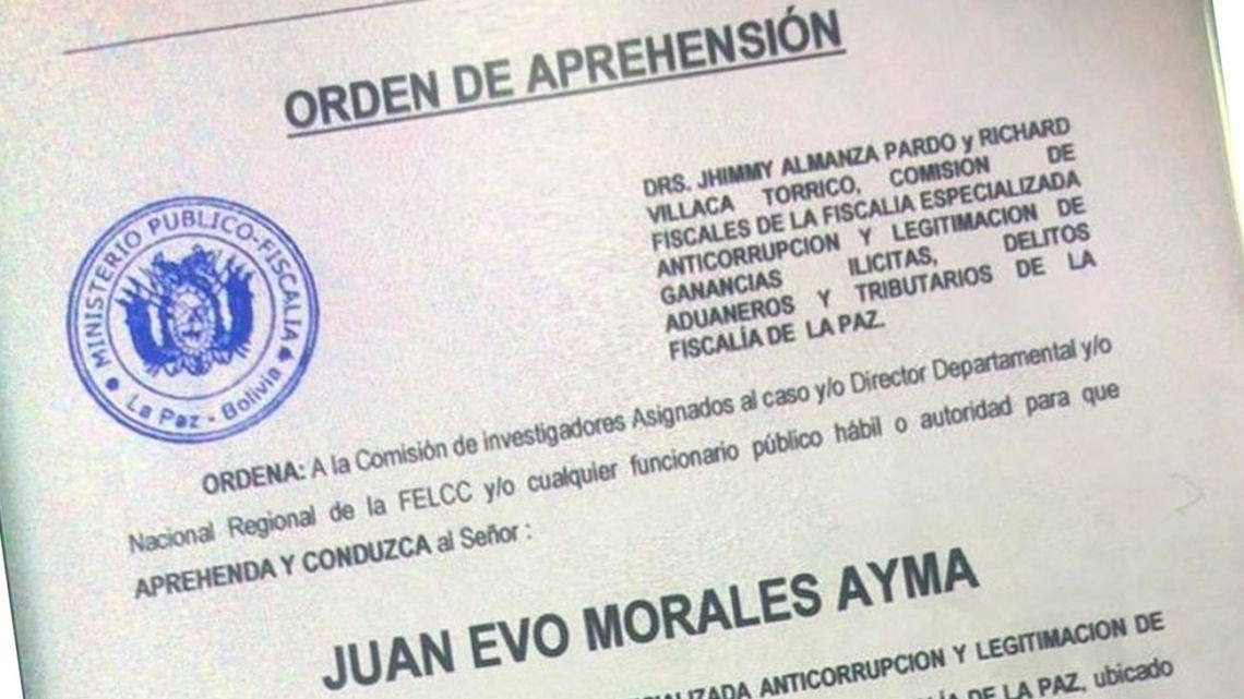 A screenshot of the document tweeted out by Bolivia's Interior Minister.