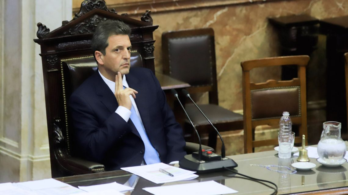 Lower House Speaker Sergio Massa, pictured during a congressional session in the Chamber of Deputies, during which lawmakers debated the legislative package.