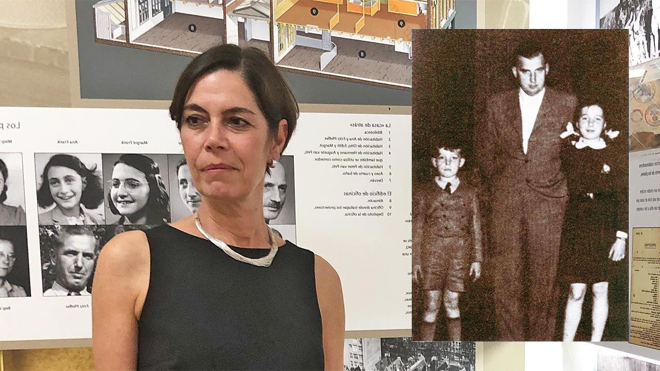En Argentina. Jaqueline Gies en el Museo Ana Frank de Buenos Aires, donde conversó con PERFIL. Robert Gies posa con sus hijos en Praga. El padre de la historiadora tenía por entonces cuatro años. La tía, cinco.
