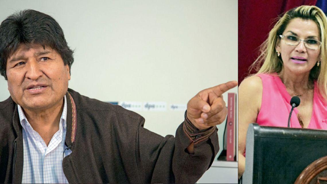 Evo Morales y Jeanine Áñez