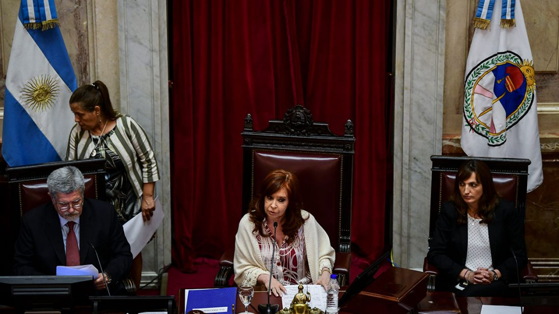Vice-President and Senate president Cristina Fernández de Kirchner (centre), speaks during a session in which new economic laws proposed by President Alberto Fernández are debated in the Senate.
