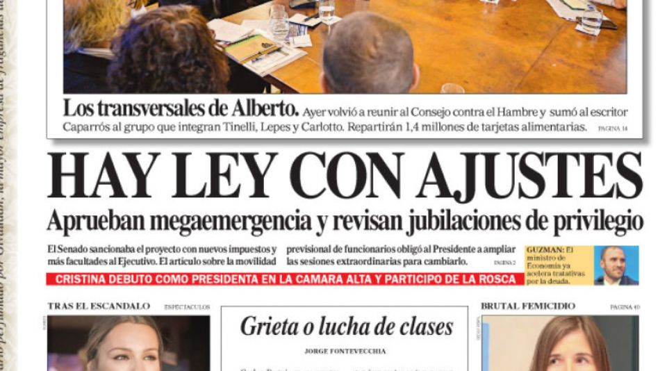 La portada del Diario Perfil de este sábado 21 de diciembre.