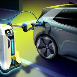 El robot de carga de energía de VW está pensado principalmente para estacionamientos subterráneos.