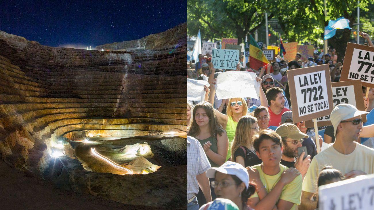 CONTRASTE. Una imagen de la mina Veladero en San Juan. Protestas contra la minería en Mendoza.