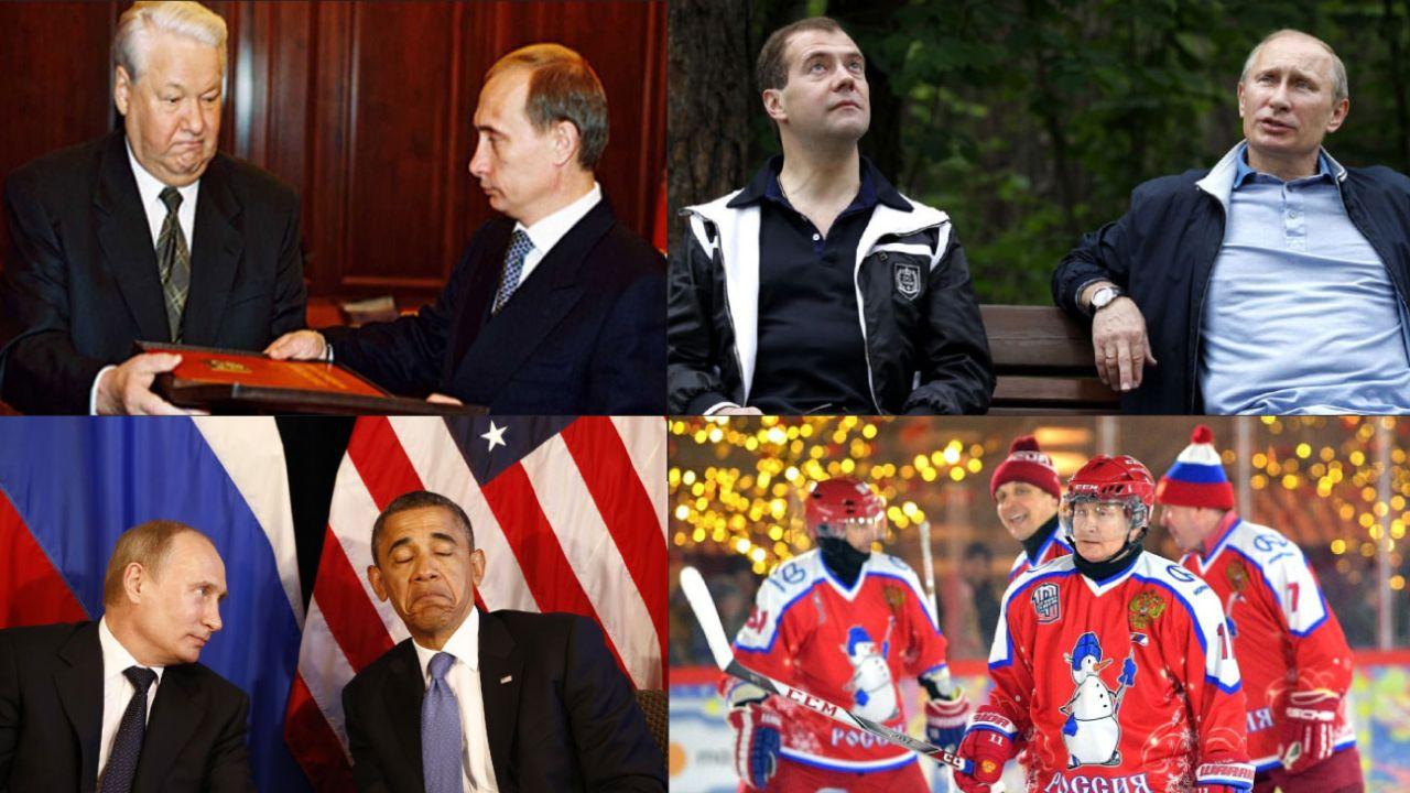 Sus relaciones públicas le abrieron las puertas como sucesor de Yeltsin. Con Medvédev, su testaferro en el poder entre 2008 a 2012. El discurso anti Estados Unidos como eje de su relato.   | Foto:DPA y AFP