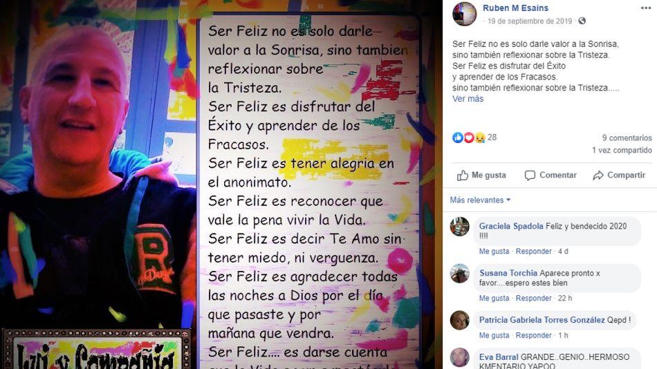 Rubén Esains, en su último y optimista posteo de Facebook, el 29 de diciembre.