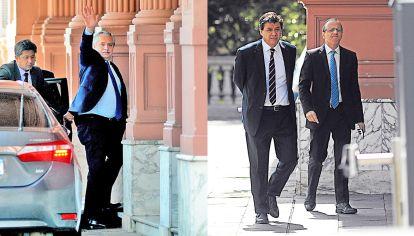 Negociación. Fernández definió ayer los últimos detalles del decreto en la Casa Rosada con el jefe de Gabinete, Santiago Cafiero, Martín Guzmán (Economía) y el ministro de Trabajo, Claudio Moroni.