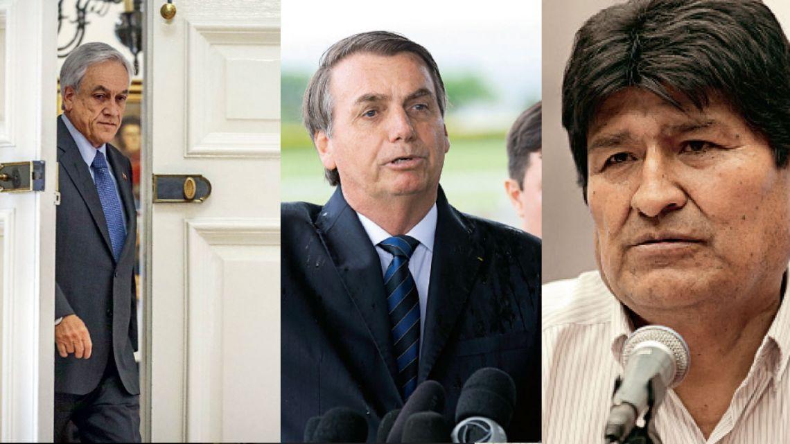 Sebastián Piñera, Jair Bolsonaro y Evo Morales