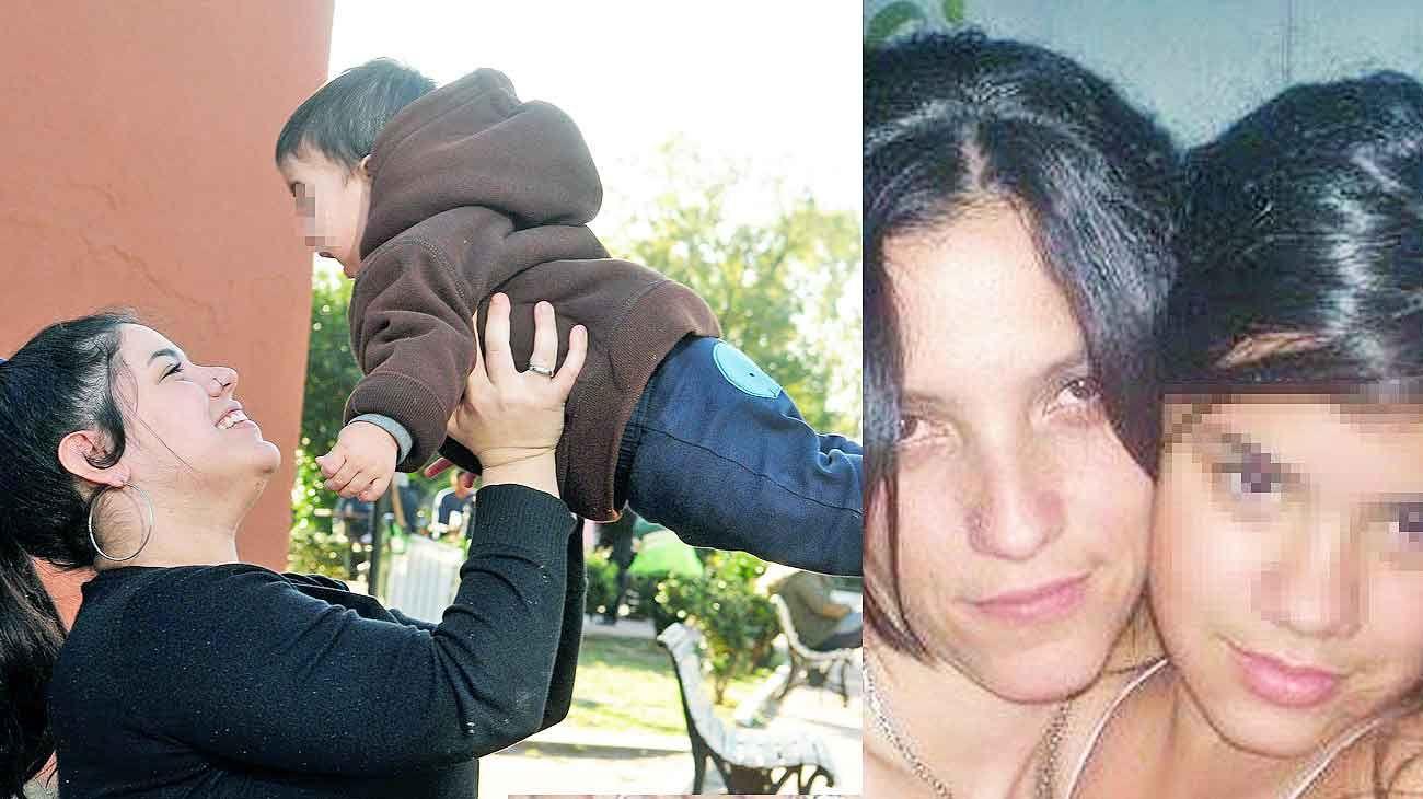 Florencia. En su rol de madre con su hijo Máximo, nacido el mismo día que la Justicia condenó al asesino de su mamá Erica (der).