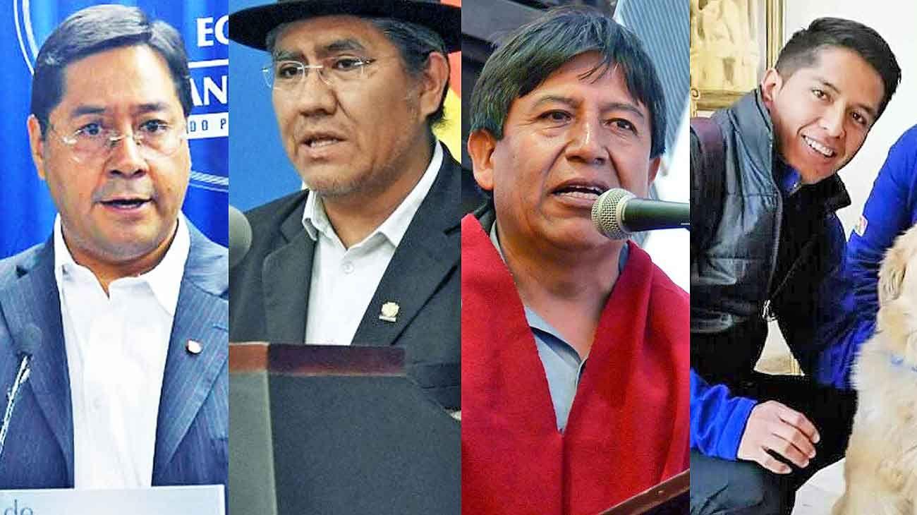 Luis Arce, Ex ministro de Economía. / Diego Pary, Ex embajador ante la OEA. / David Choquehuanca, Ex canciller. / Andronico Rodriguez, Dirigente cocalero.