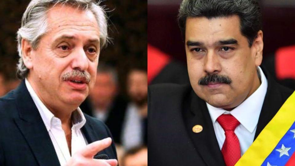 Alberto Fernández y Nicolás Maduro.