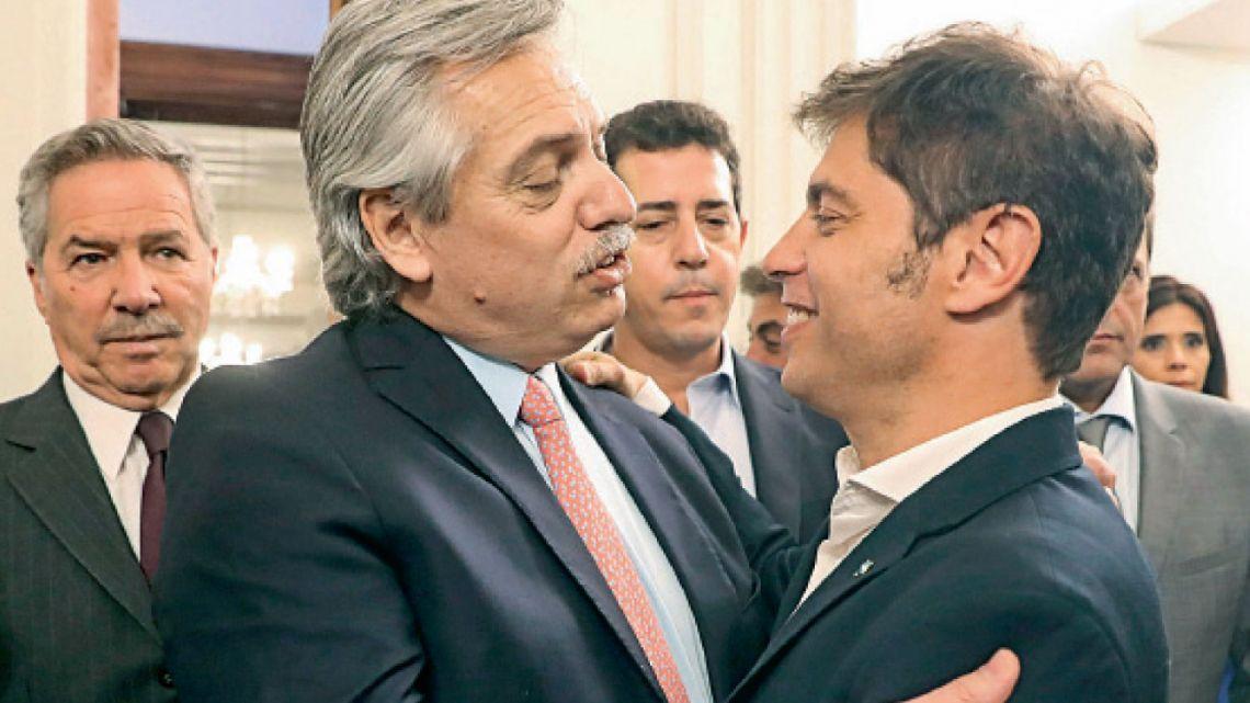Alberto Fernández junto al gobernador Axel Kicillof.