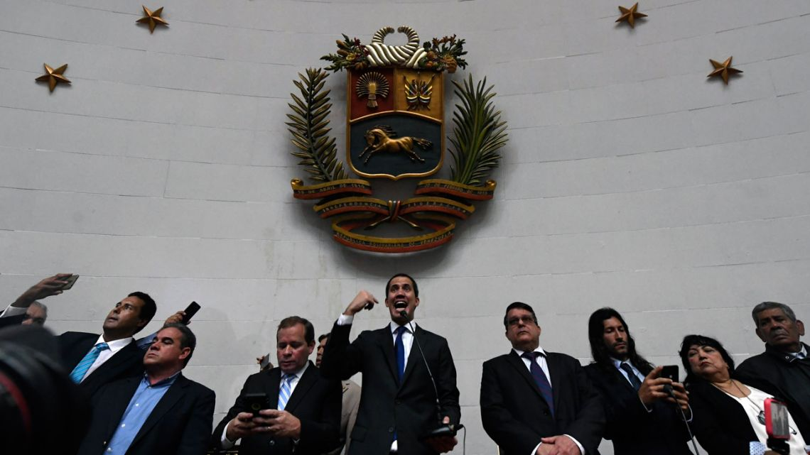 Venezuelan opposition leader and self-proclaimed acting president Juan Guaidó speaks at the National Assembly in Caracas, on January 7, 2020.