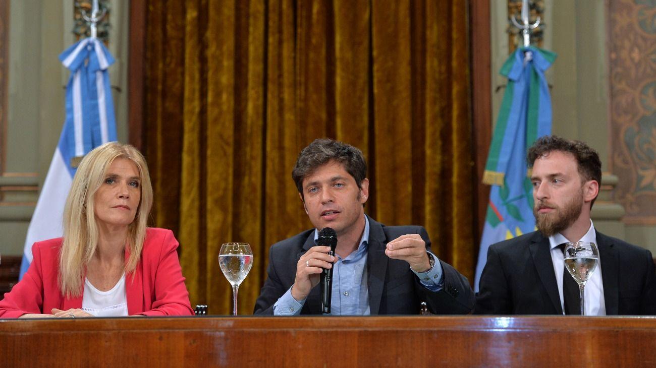 Verónica Magario, Axel Kicillof y Federico Otermin.