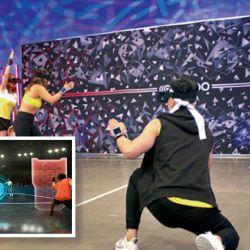 equipo. Los cascos de VR y una pulsera en la muñeca para controlar los escudos o lanzar las esferas. El hardware sirve para otros deportes virtuales que ya tienen competencia mundial.  | Foto:Dpa y Cedoc