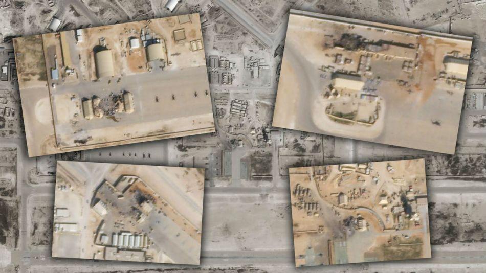 En las fotografías satelitales se ven los impactos de los misiles.