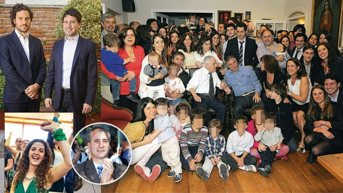 Los primos Santiago y Francisco. Ana, la nueva consejal, Juan Pablo (abajo). Antonio Cafiero con hijos, nietos y bisnietos. | Foto:cedoc