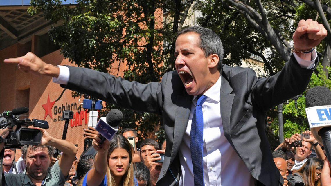 """You don't get to decide who gets in!"" yelled Guaidó, inching his face up close to the young man impeding his access to Venzuela's legislature."