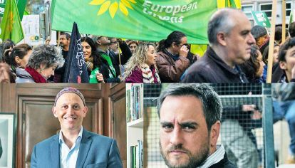 Europa. Los Verdes funcionan como límite a los populismos de derecha en países industrializados (arriba). Funcionarios. Sergio Bergman y Juan Cabandié, ministros de Ambiente de las últimas gestiones (abajo).